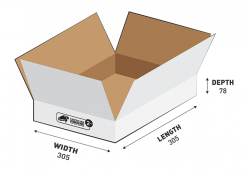 2kg Courier Carton 7.26L White Flat Rate Shipping Box.