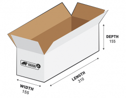 2kg Courier Carton 7.45L White Flat Rate Shipping Box.