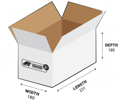 2kg Courier Carton 7.48L White Flat Rate Shipping Box.
