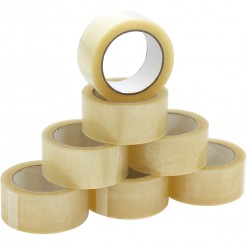 Clear packing tape. Sold in sleeve of six rolls.